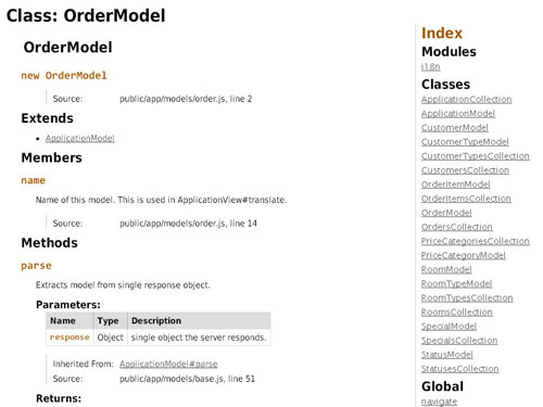 Example screenshot of the documentation of the client generated using JSDoc.