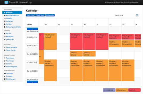 Screenshot of the client of the Passat Accommodation Scheduling System. In the calendar you can see all appointments of one week for all rooms.